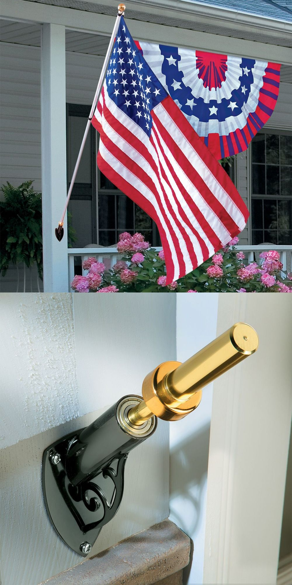 Prevent Your American Flag From Tangling With A House Flag Holder That Rotates On Two Sets Of Sealed Stainless Steel Flag Holder House Flags Flag Pole Holder