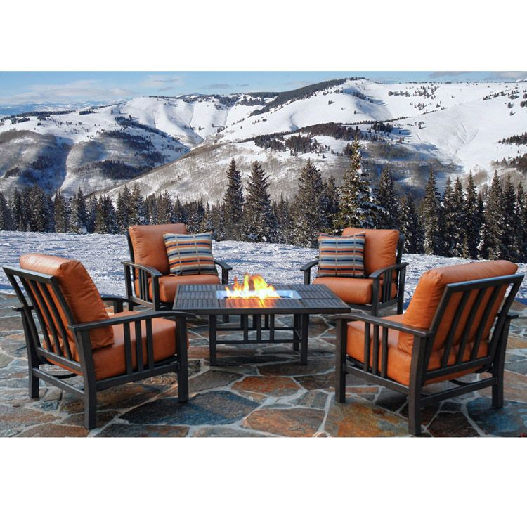 Homecrest Trenton Outdoor Patio Firepit Set With Deep Seating Chat Chairs