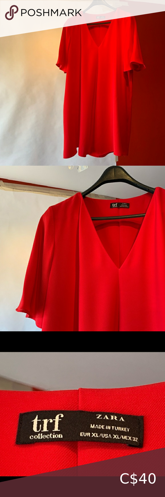 NWOT Zara trf Collection Red Tunic