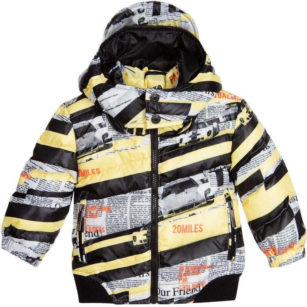 54a18ae2fc8d John Galliano Baby Boys Down Padded Gazette Print Jacket