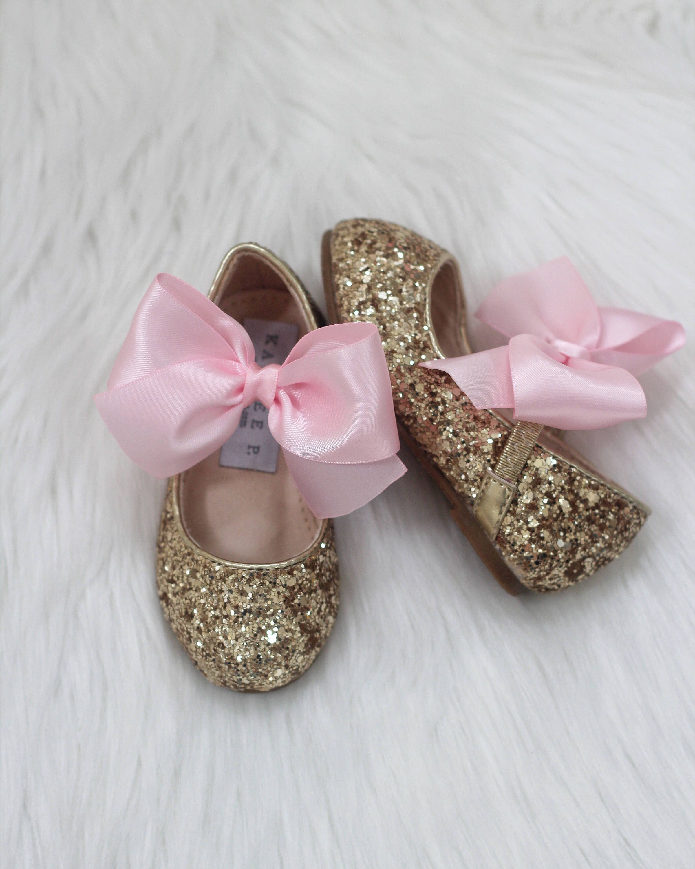 22f7f2e25982 FIRST BIRTHDAY SHOES - Silver   Gold Rock Glitter Maryjane with Pink Satin  ribbon bow - Girls Glitter Shoes