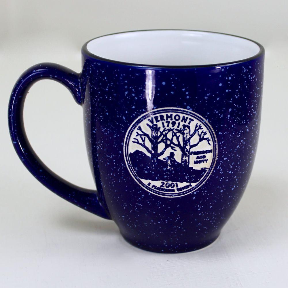 Vermont Commemorative Quarter Mug Splatter Ware Blue 10 Oz Tea Cup Vt Pottery Mugs Coffee Signs Tea Cups
