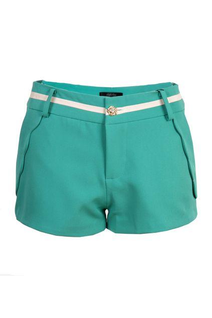 Wave Hem Green Shorts