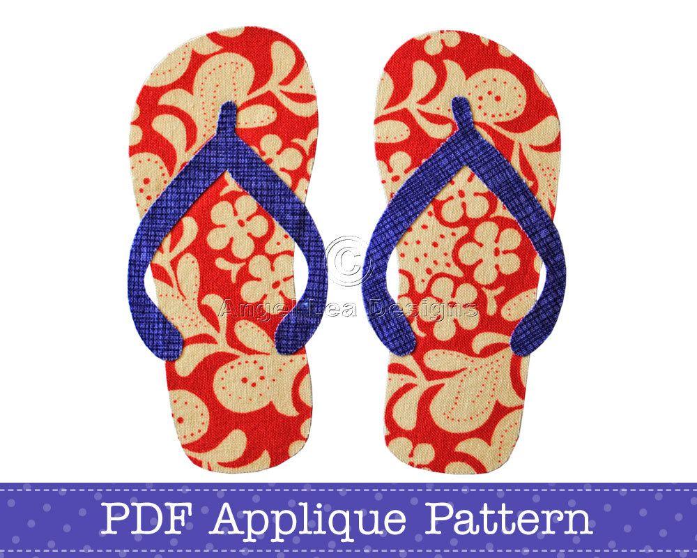375847276c79 Thongs Applique Template Flip Flops Sandals PDF Applique Pattern ...