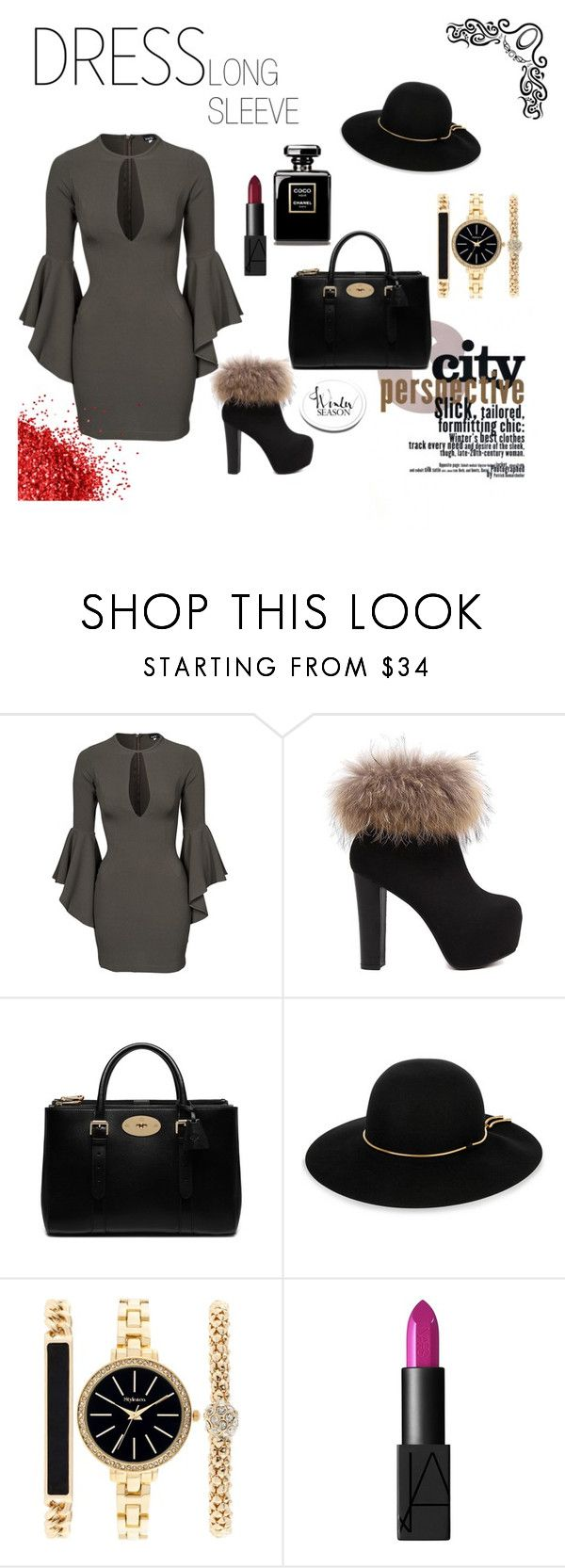 """""""Bell-Sleeve Dresses"""" by azraa-tursunovic ❤ liked on Polyvore featuring John Zack, Mulberry, Lanvin, Style & Co. and NARS Cosmetics"""