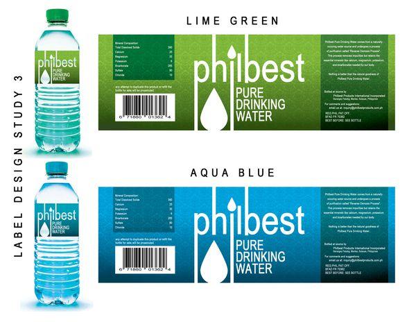 Philbest Pure Water Bottle Label Design on Behance | MINIATURE ...