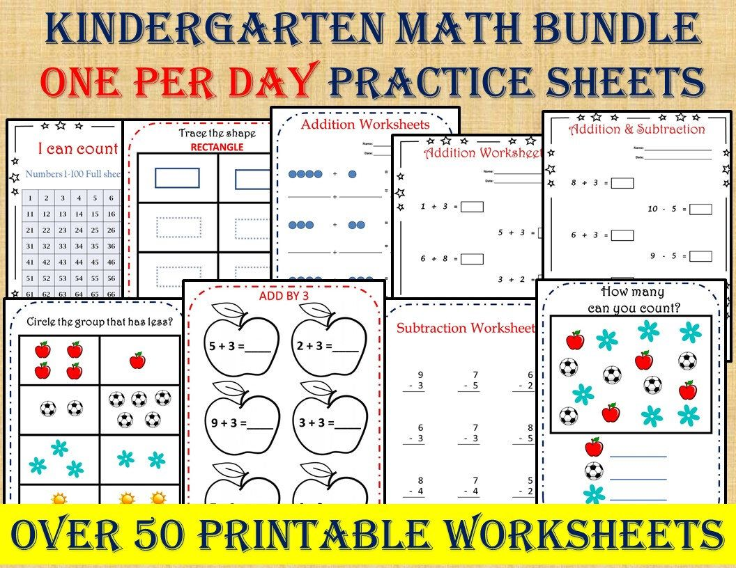 Kindergarten Math Bundle One Per Day 50 Worksheets Instant Etsy Math Bundle Kindergarten Math Math Worksheets [ 816 x 1056 Pixel ]