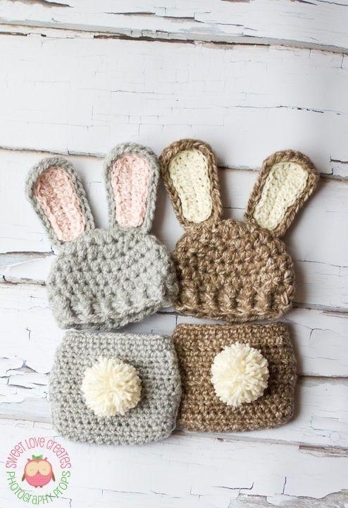 Crochet bunny outfit for newborn | Crochet 18 | Pinterest | Gorros ...
