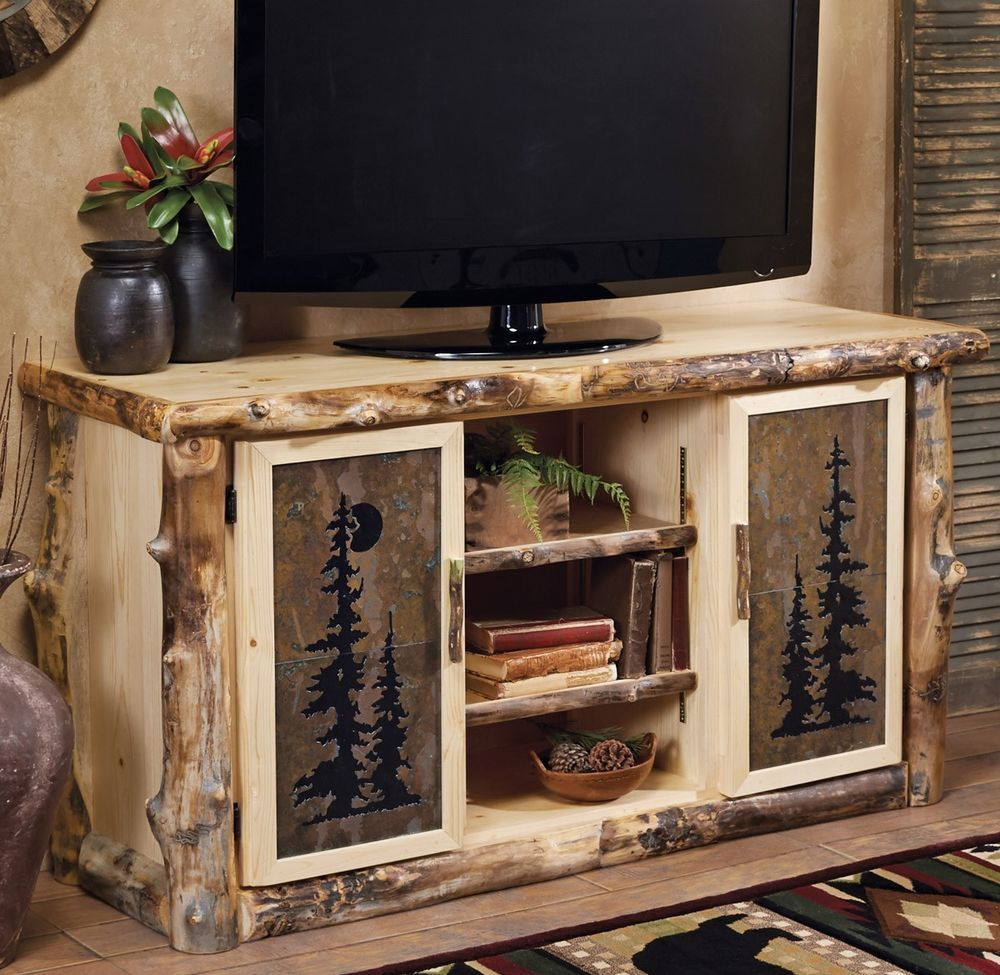 Log Tv Console Stand W Tile Inserts Country Rustic Wood Table Living Room