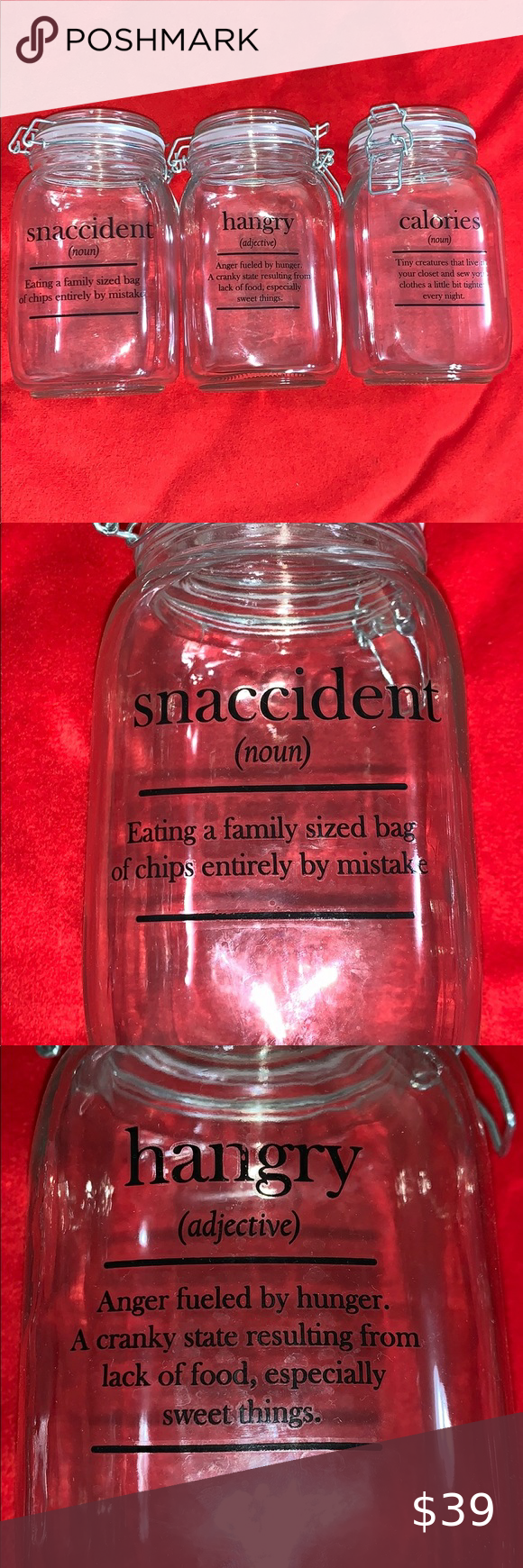 Snaccident Hangry Calories Funny Sayings Canisters Snack Jars Chip Bags Glass Canisters