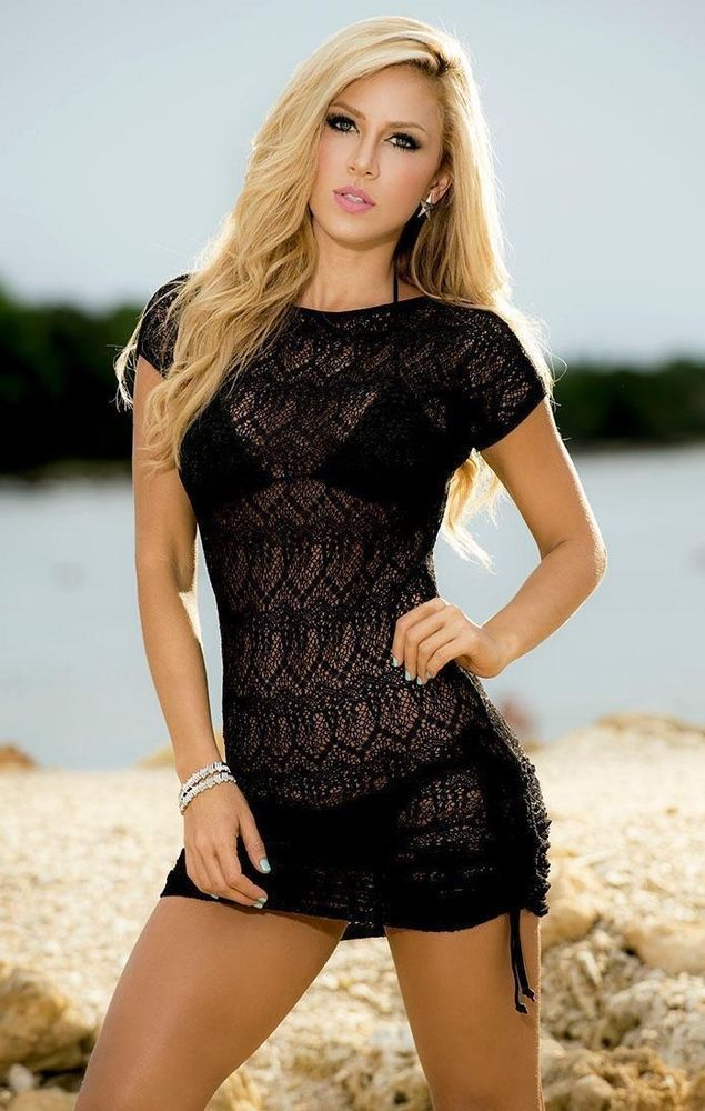 827a86a143510 NWT Sexy Mapale M Micro Mini Dress Black Swim Cover-Up Beach Sheer Net 7723  #Mapale #CoverUp