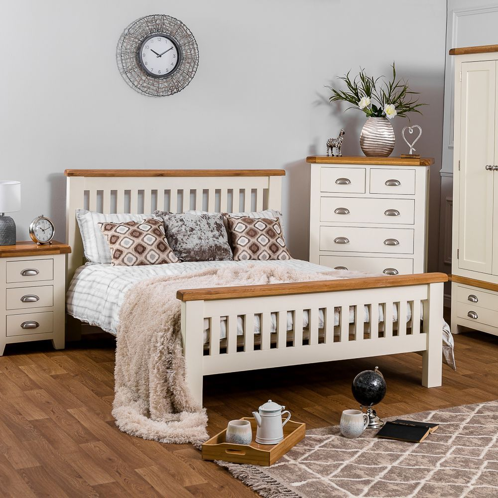 Hampshire Ivory Painted Oak 4'6 Double Bed Frame in 2020