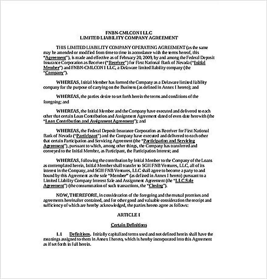 Simple Llc Operating Agreement Template 11 Operating Agreement