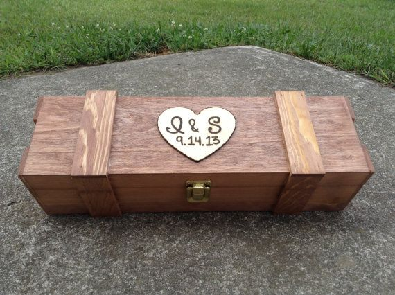Personalized Wine Box Engraved Wood Rustic Vineyard Wedding Gift With Heart For Couples