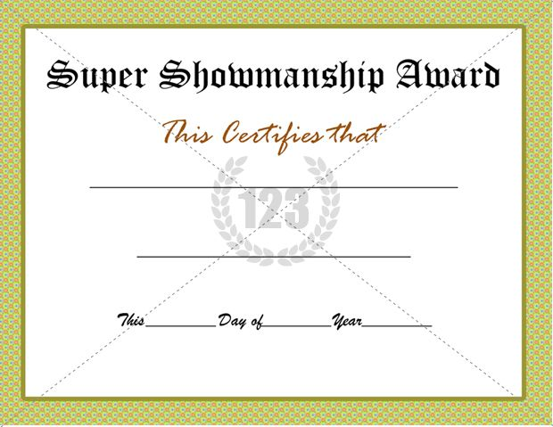 Super Showmanship Award Certificate Template Download