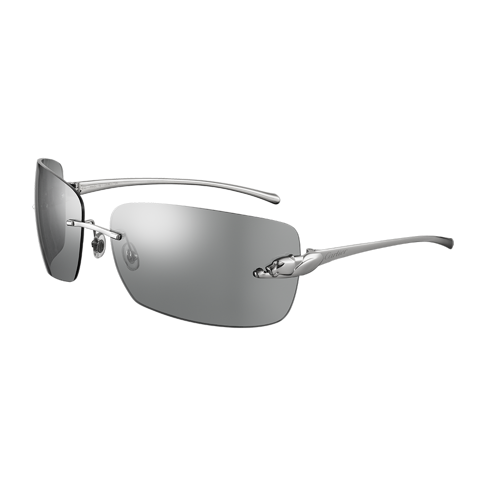 fd505fbd49 Cartier Panthère de Cartier sunglasses - Smoked grey lenses, smooth  ruthenium finish - Fine Sunglasses for men - Cartier