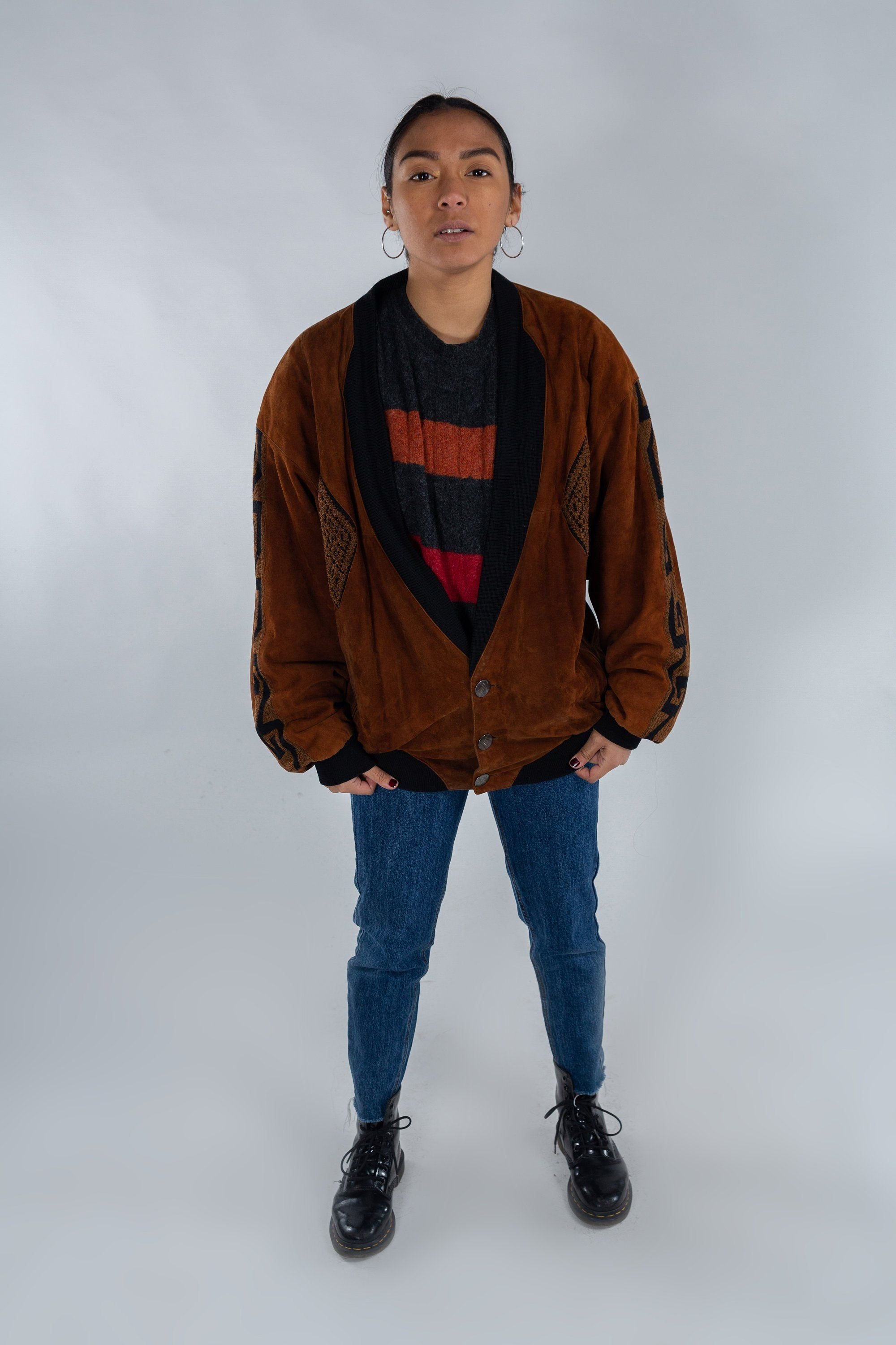 Clothing, Shoes & Accessories Vintage Leather And Suede Womens Jacket 80s Style Size M