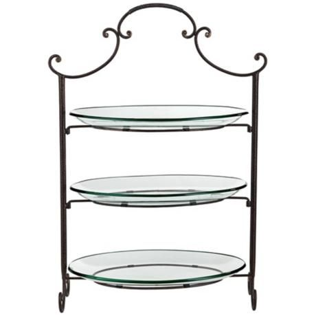 Three Tier Serving Stand With Scroll Top And Glass Plates Rak