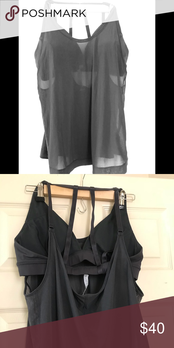 18854ba124 Lululemon grey tank with built in sports bra Super cute never worn grey  sheer tank top with built in sports bra. lululemon athletica Tops Tank Tops