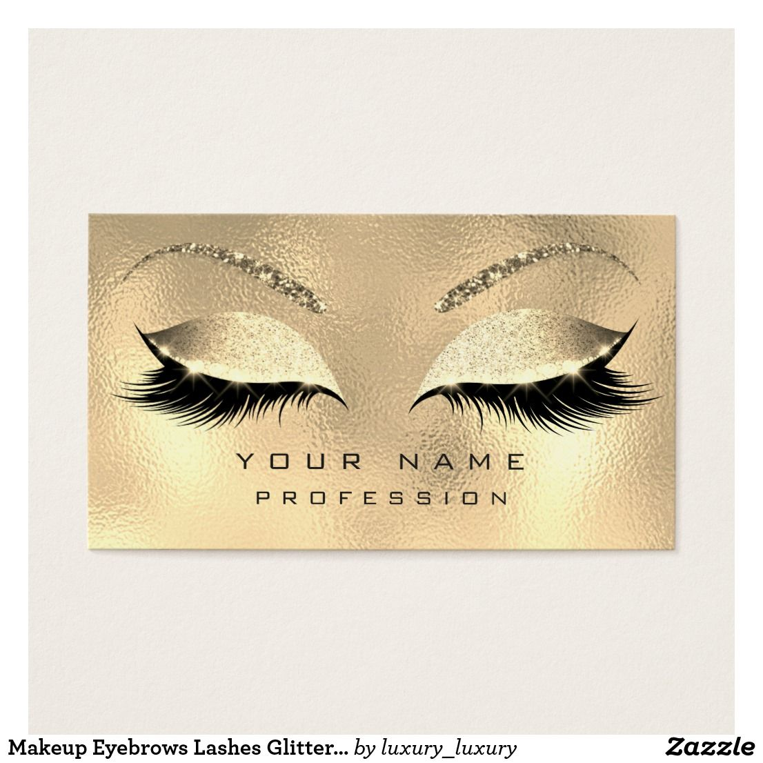 5a14c4760c6 Makeup Eyebrows Lashes Glitter Diamond Gold Glam Business Card ...