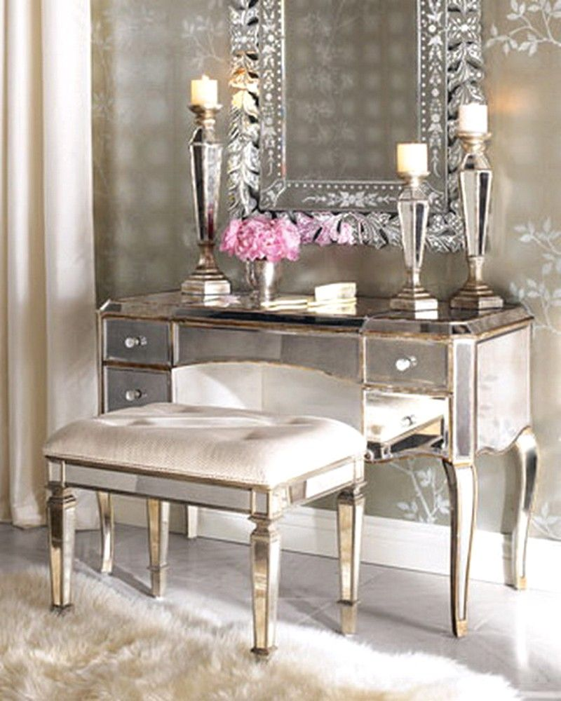Furniture, Chair Ideas For Makeup Table With Mirror And Lights Also Gold  And Silver Accents