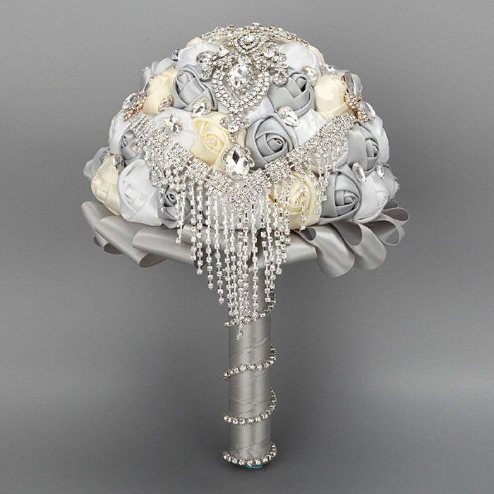 Handmade Rose Bridal Wedding Flowers Silk Crystal Pearl Brooch Bouquet US CFF