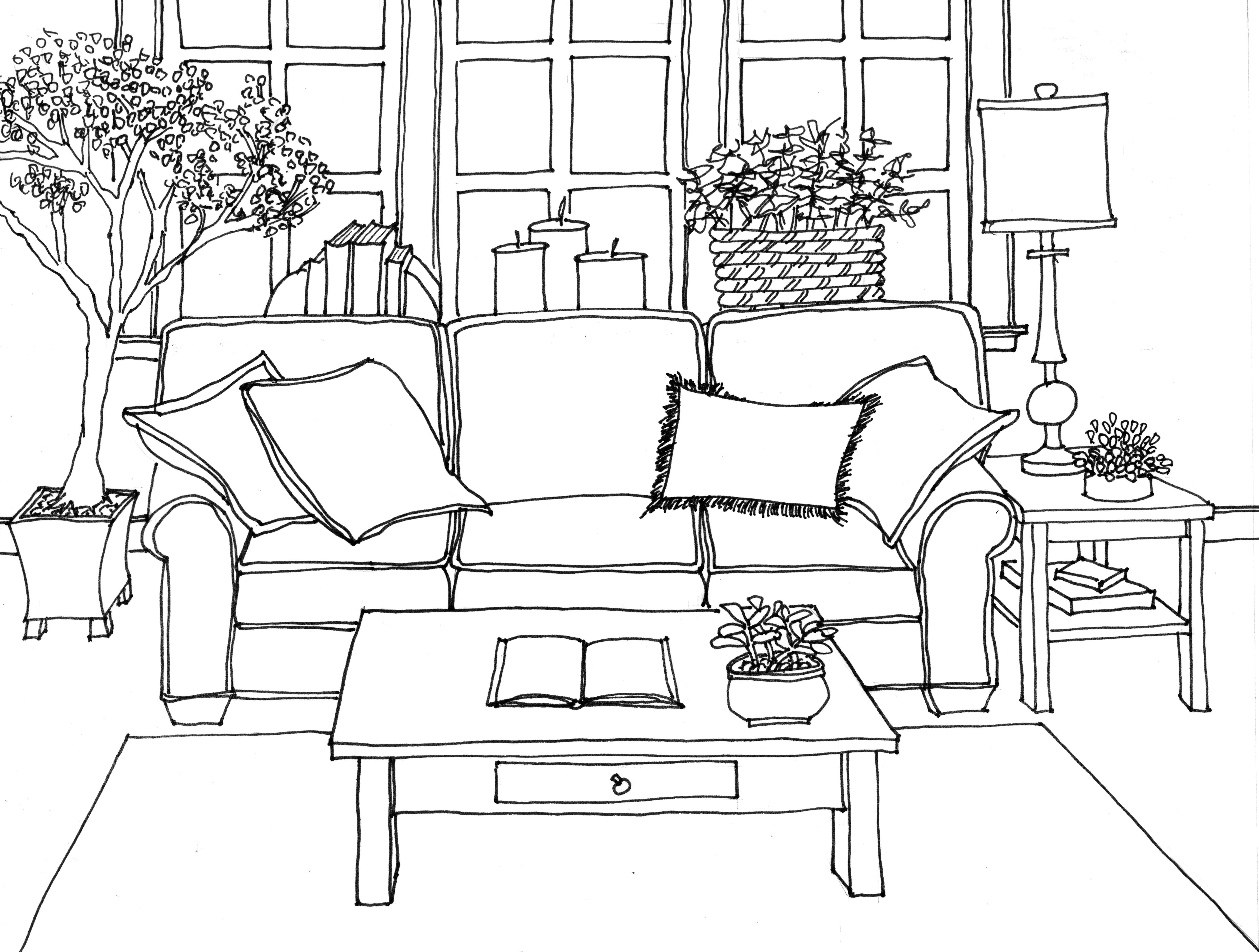 Interior Line Drawing