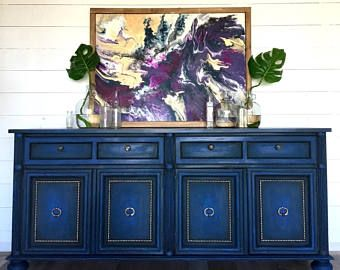 Credenza Da Dipingere : Sold!!! coastal blue painted buffet beach cottage sideboard shabby