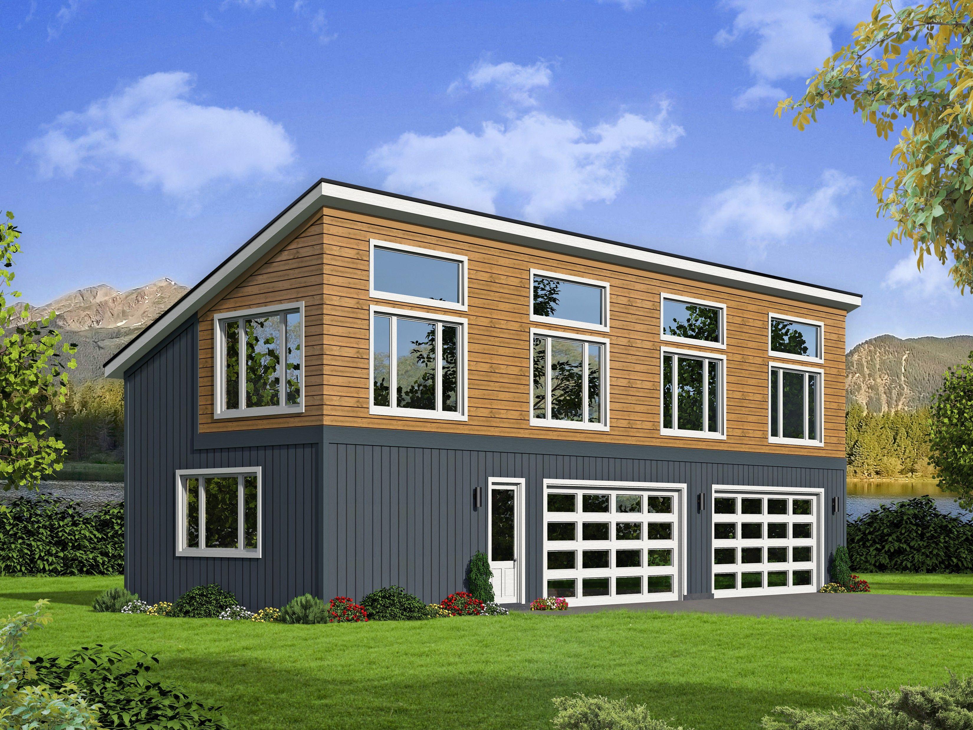 Hpp 27803 1 200 Heated And Cooled Square Feet Garage Garageplan 4cargarage Modern Moderngarage Garage Plans With Loft Modern Garage Garage Apartment Plans