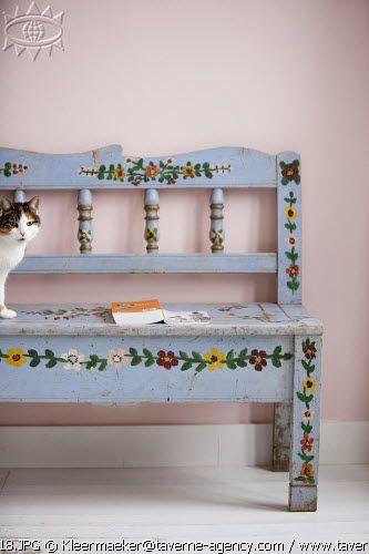 Sweetest Little Bench Folk Decor Art Furniture Painted Furniture