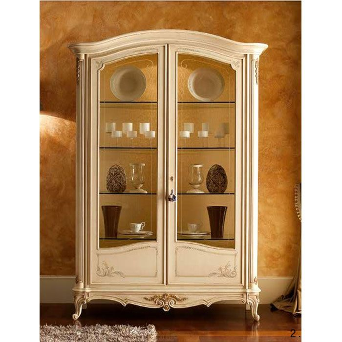 Display Hutch | French Country Display Cabinet White | Mahogany Wall Unit|  French .
