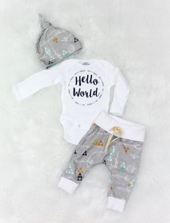 4347dd9a4 Baby boy/Hello world outfit/ take home outfit/ organic cotton Three piece coming  home outfit for your baby boy. Outfit includes organic cotton pants, ...