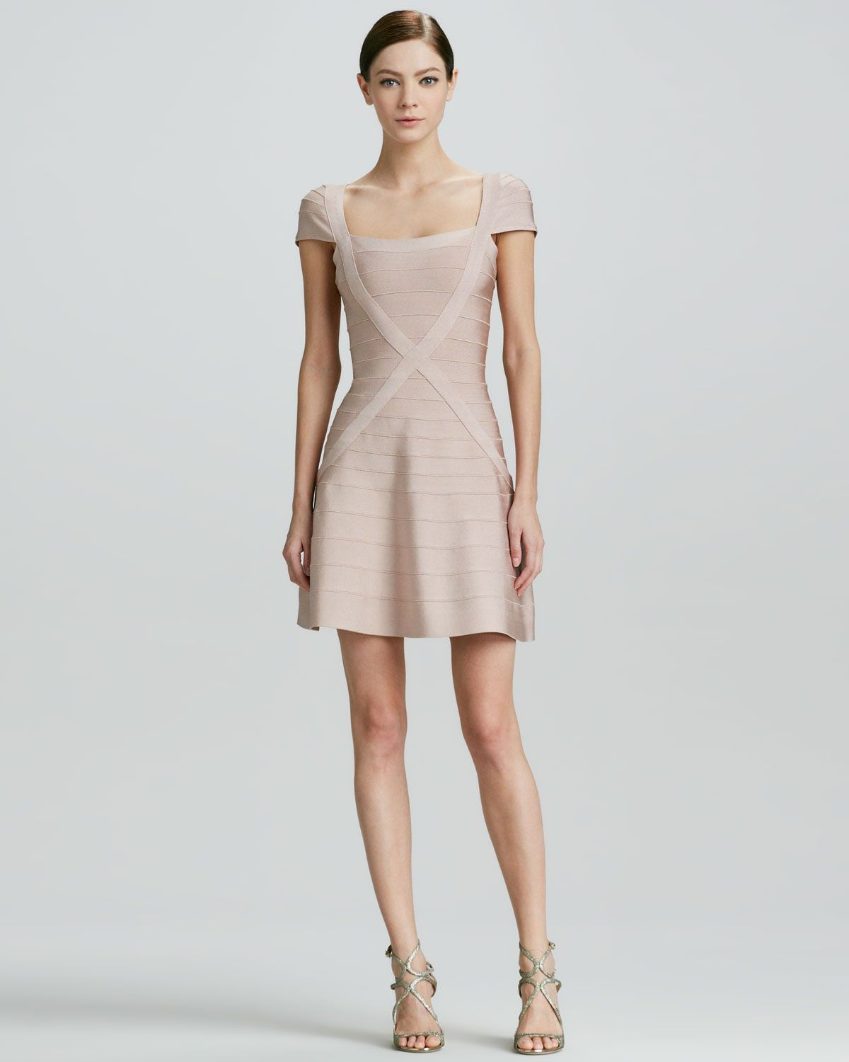 Herve Leger X-Front Bandage Dress with Flared Skirt - Neiman Marcus ...