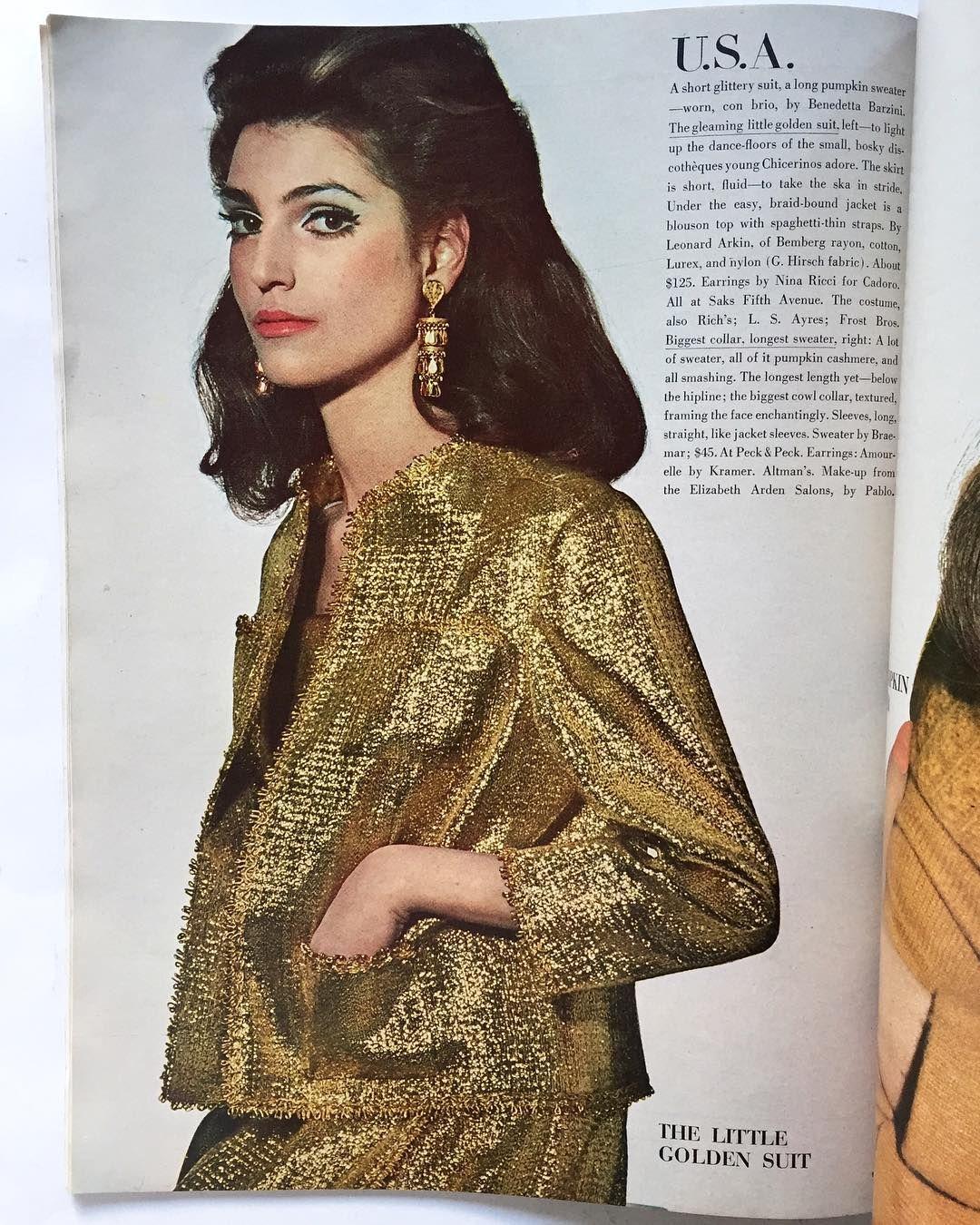 Benedetta Barzini In A Leonard Arkin Golden Suit Photo By