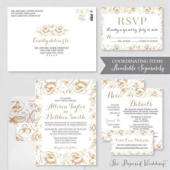 wedding address labels gold