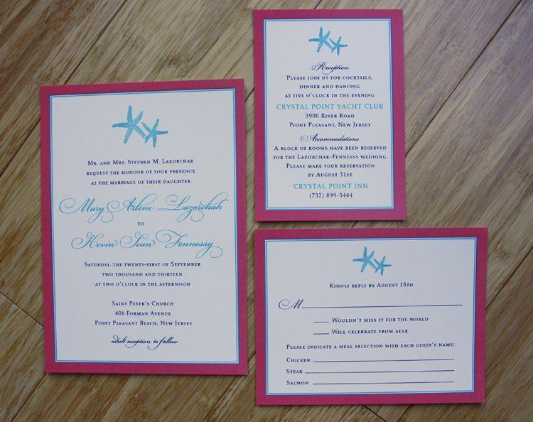 Coral Pink Turquoise Blue Fun Formal Starfish Beach Wedding Invitations