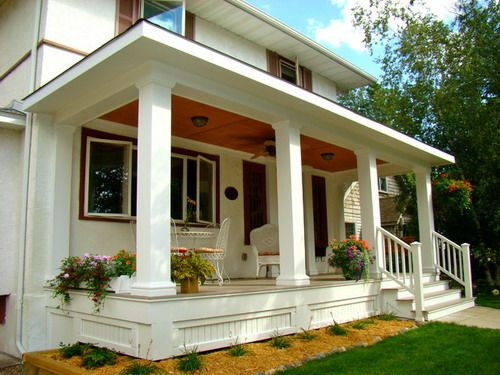 Luxury front porch skirting small garden landscape home for Small front porch landscaping ideas