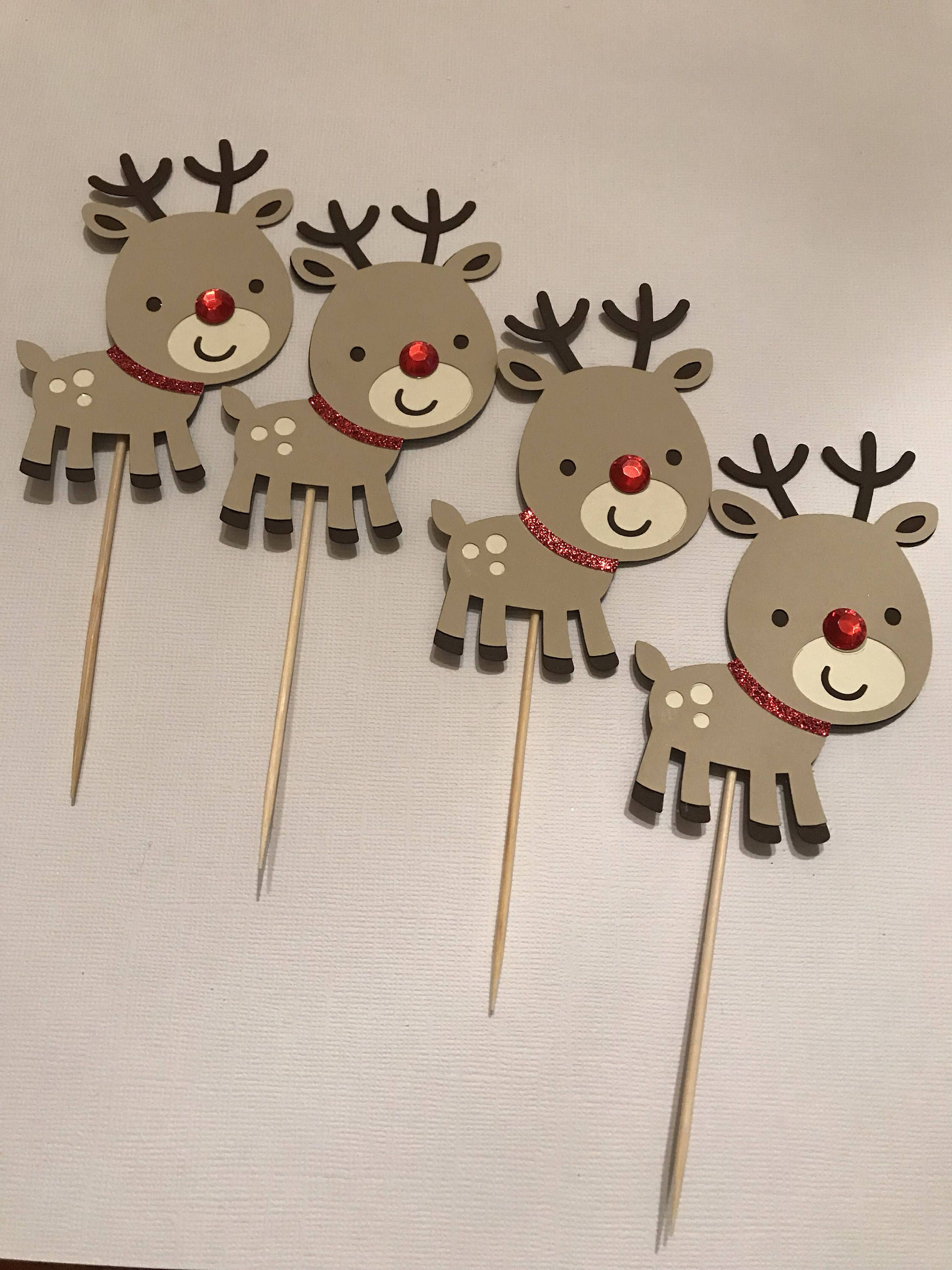 Rudolph reindeer cupcake topper | Christmas crafts ...
