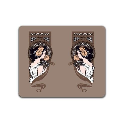 Art nouveau girl in brown Placemat by rainbowpixels at zippi.co.uk