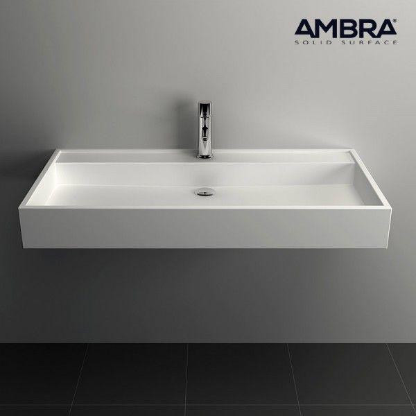 Vasque 90 cm suspendue ou à poser, en Solid surface - Malaga - porte serviette a poser