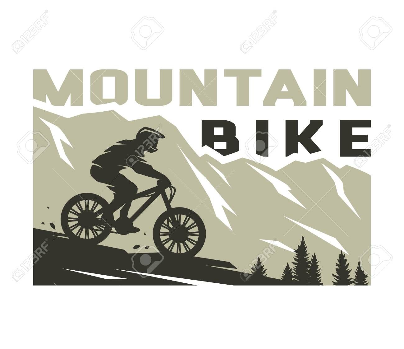 Mountain Bike Silhouette Of A Cyclist On A Background Of