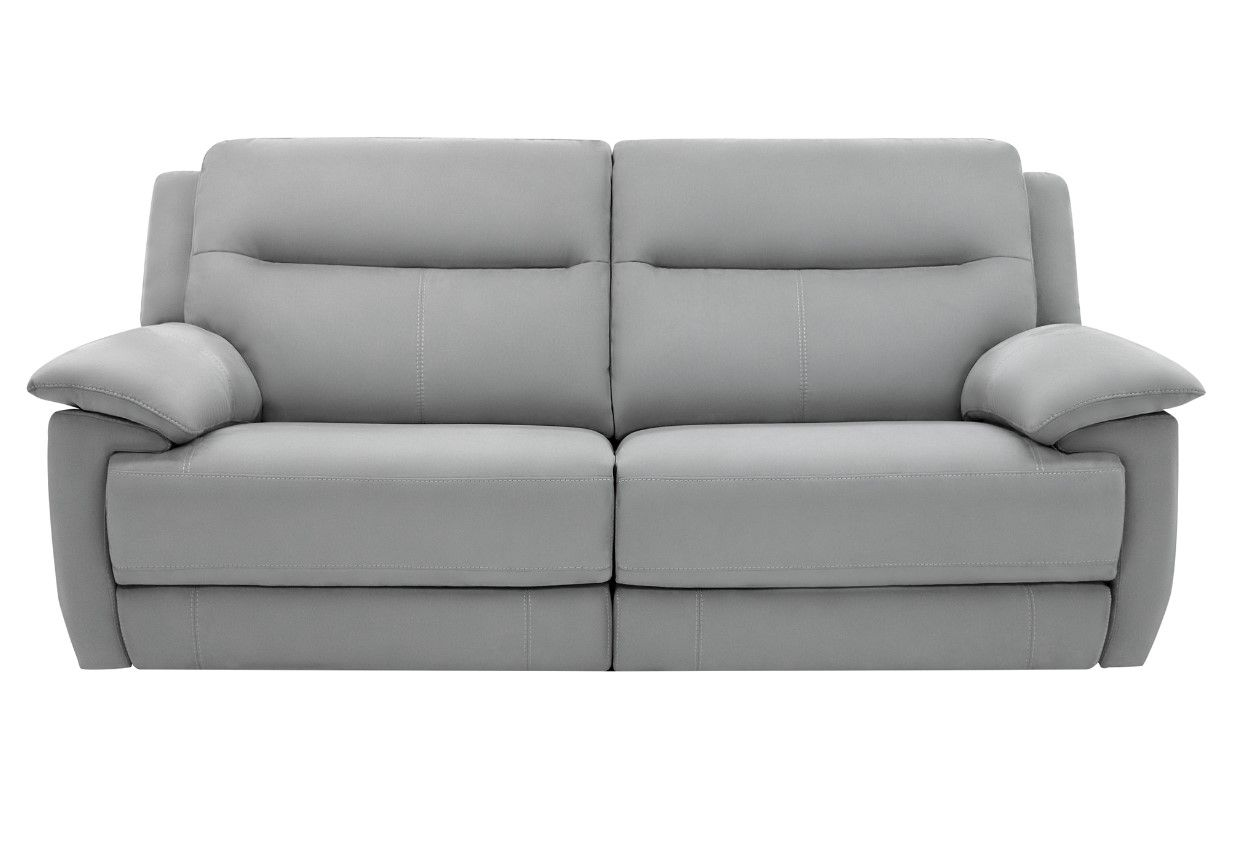 Canape 3 Places 2 Relax Electriques Curtiss Ii Tissu Gris Clair Canape Canaperelax Sofa Iziva But Canap Canape 3 Places Tissu Gris Canapes Tendance
