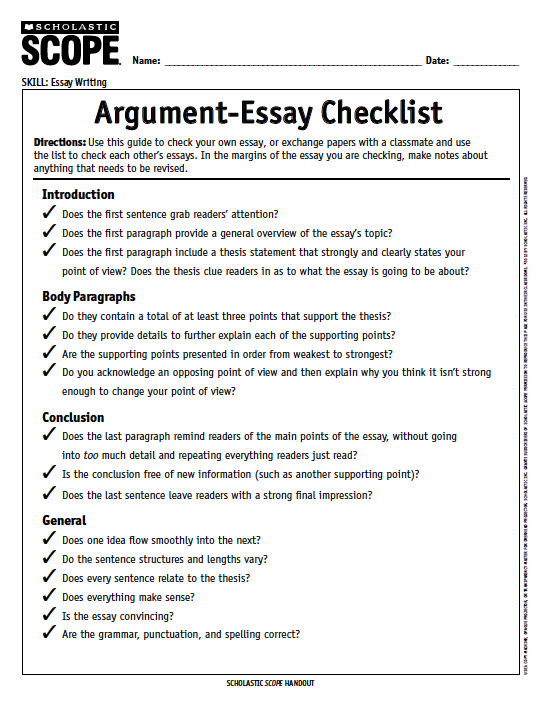 a super useful argumentessay checklist from scopemagazine  scope   best english essay also examples of thesis statements for english essays thesis for argumentative essay