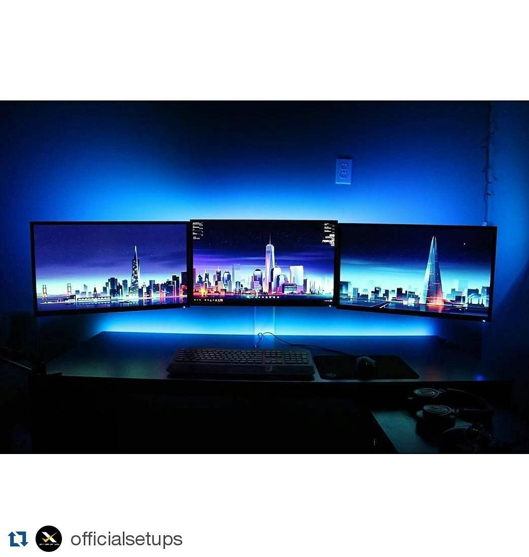 #Repost @officialsetups with @repostapp Here's a cool triple monitor setup sent in by @spencernuzzo. I love the cool blue theme along with the triple monitors. There's nothing else really to say about this setup other than good job! What do you guys think about this setup? Definitely share your thoughts down below! ------------------------------------ Use #officialsetups with a photo of your setup to have a chance to be featured on this page! ------------------------------------- Follow my…