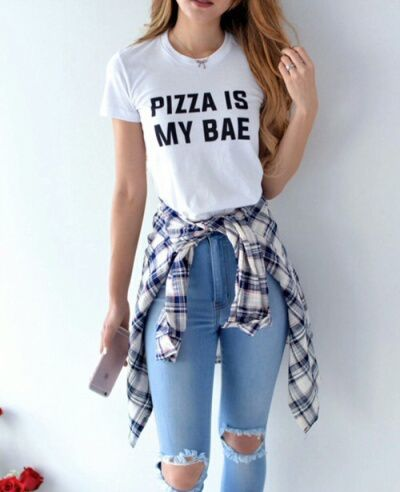 Media- this person chooses her outfit based on tumblr culture- such as the  joking obsession with pizza 89ee70a216e
