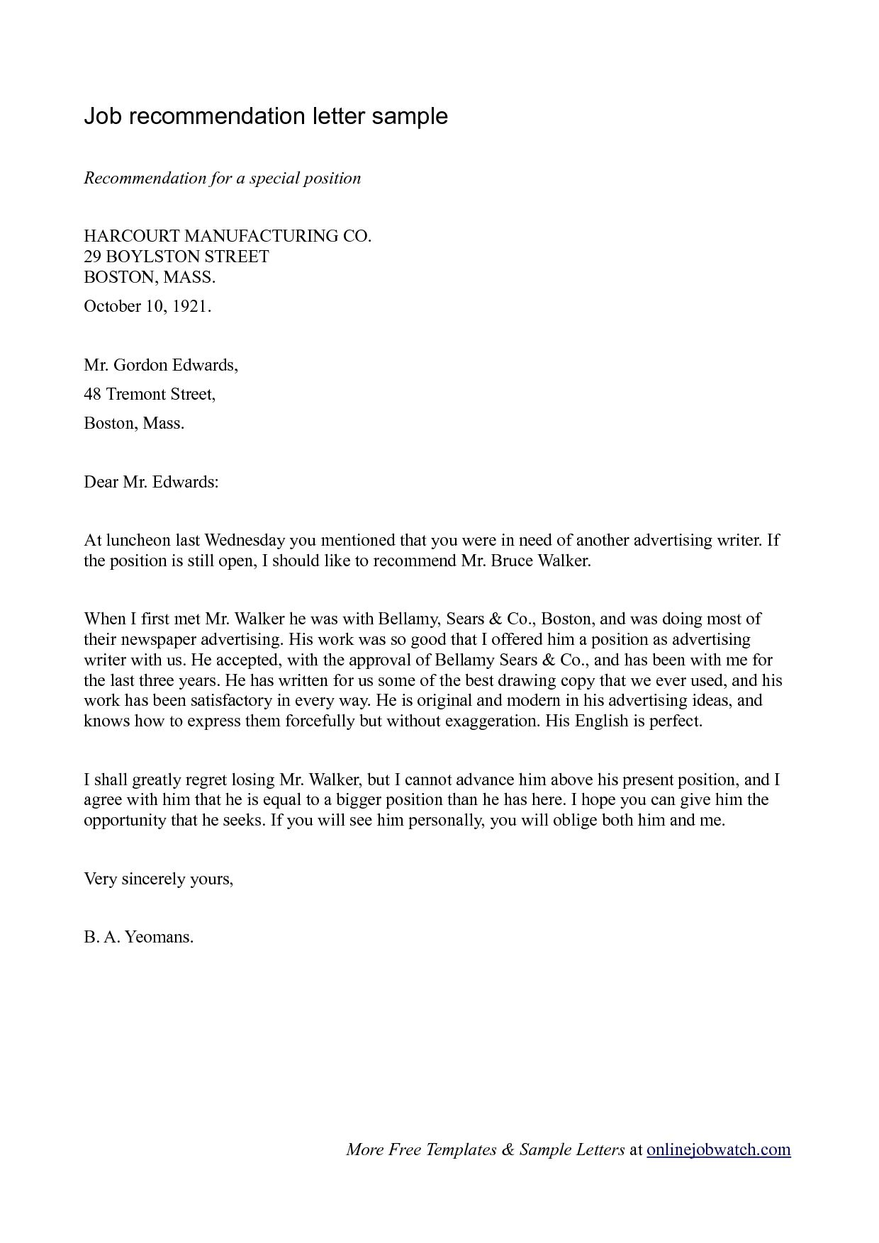 Letter Of For Employment Template Ivedi