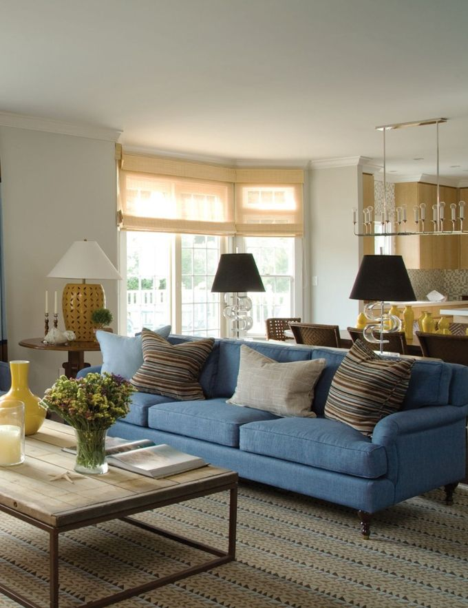 Stephanie Kraus Designs Blue And White Living Room A: Love Blue Couch And Blue And Brown Striped Pillows