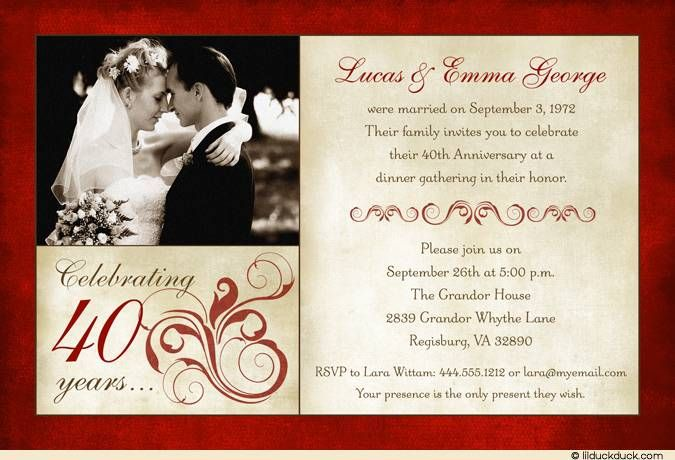 Unusual Ruby Wedding Gifts: 40th Anniversary Invitation Templates