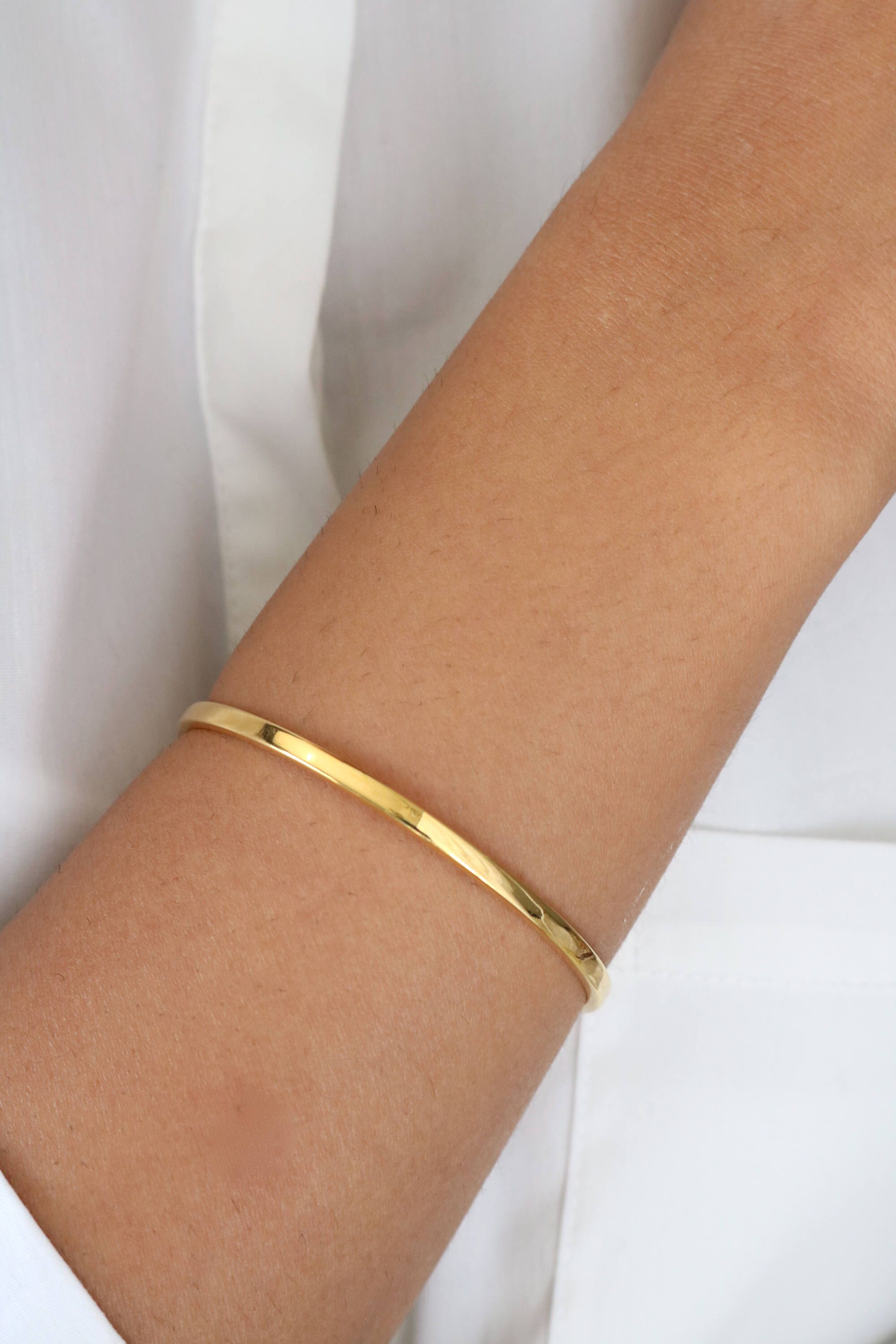 6c77a3ed7e668 18k Solid Gold Bangle - 18k Gold Hinged Bangle - Gift For Her in ...