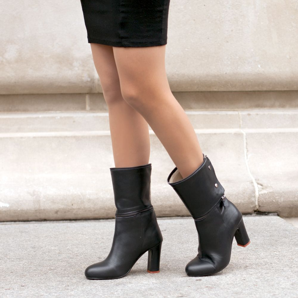 Convertible Karma Boots In Calf Length Work Heels Shoes Office